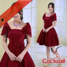 * CINDERELLA çiçek fiyonk abiye elbise kırmızı M
