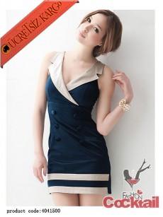 * ZARİF YAKA japon kolsuz düğmeli elbise