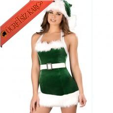 * Yeşil Kürklü Noel Anne Sexy Fantezi Kostüm