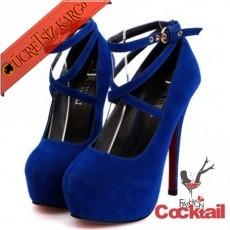 * Çapraz Bant Japon Platform Ayakkabı 35-42 Mavi