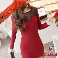 * Keskin Yaka Japon Tül Detay Elbise Kırmızı - İNDİRİM ÖZEL