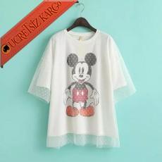 * Çift Kat Tül Japon Miki Mouse Bluz Beyaz