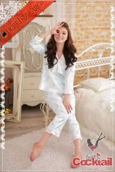 * Desenli saten japon pijama takım
