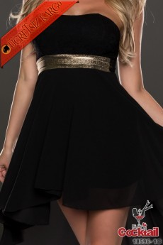 * Altın Bel Japon Uçuşan Gece Elbise Siyah S-L
