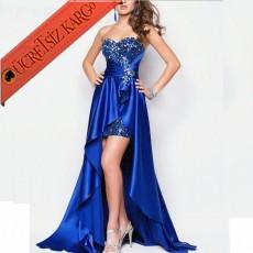 * Arkası Uzun Saten Düğün Abiye Elbisesi Mavi