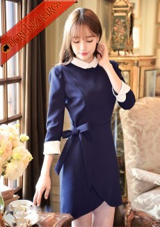 * Asimetrik Etek Japon Kontrast Manşet Elbise