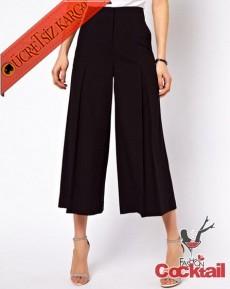 * Bol Paça Japon Dökümlü Pantolon Xs-Xl Siyah