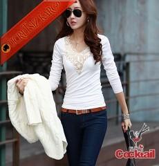 * Altın Nakış Japon Uzun Kol Tshirt M-Xl Beyaz