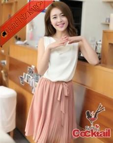* Pileli Etek Japon Sade & Şık Elbise