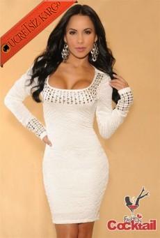 * Zımba Şerit Yaka Japon Fit Gece Elbise Beyaz