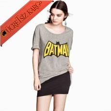 * Batman Baskı Japon Kısa Kol Tshirt Gri S