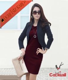 * Asimetrik Çizgi Japon Şık Elbise M-L Bordo