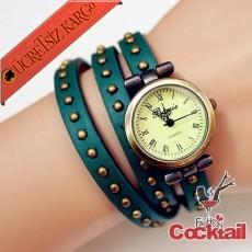 * Bileğe Dolanan Deri Zımbalı Kol Saati Yeşil