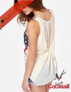 * Abd Flag Japon Askılı Bluz Tshirt Xs-Xxl