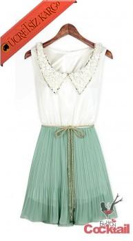 * SHINING NECK japon pileli kolsuz elbise yeşil