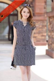 * Boyuna Çizgi Japon Kısa Kol Casual Elbise Siyah