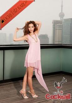 * asimetrik süper şık gece elbise pembe