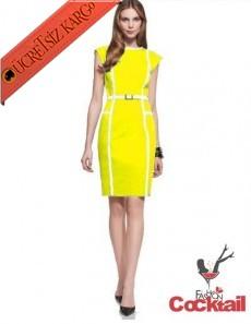 * Boyuna Çizgi Kenar Japon Elbise S-Xxl Sarı