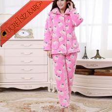 * Peluş Japon Cepli Pijama Takım Bedenli Pembe