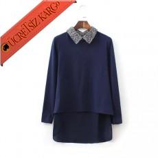 * Asimetrik Etek Japon Sevimli Yaka Bluz Mavi S-L