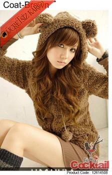 * japon SWEETY genç kürklü bayan hırka kahve