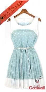 * SWEETY BABY japon puantiye elbise yeşil M L