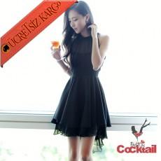 * Japon Kabarık Tül Etek Gece Elbise S-L Siyah