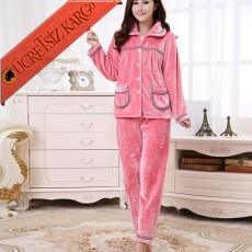 * Peluş Japon Ayıcık Pijama Takım Bedenli Pembe
