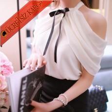 * Çapraz Bağlı Japon Genç Elegant Bluz Beyaz