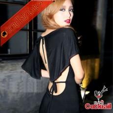 * Ful Sırt Dekolteli Japon Batman Uzun Elbise Siyah