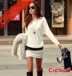 * Parıltılı Kendinden Kemer Japon Elbise Beyaz