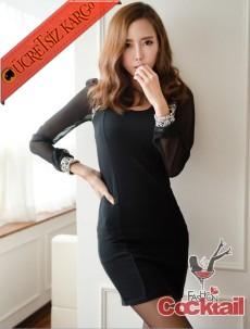 * tül kol taşlı japon fit sade gece elbise siyah