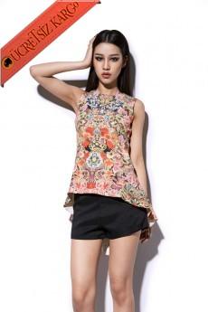 * Asimetrik Etek Japon Çiçekli Kolsuz Bluz M
