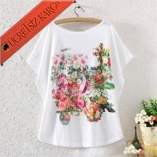 * Çiçek Bahçesi Japon Kısa Kol Tshirt Beyaz