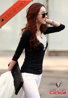 * Altın Nakış Japon Uzun Kol Tshirt M-Xl Siyah