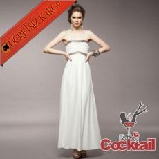 * PARLAK ŞERİT japon uzun abiye elbise beyaz S M L