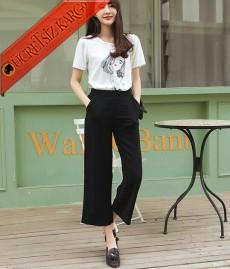 * Bol Paça Japon Klasik Kesik Pantolon Siyah S-L