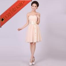 * Japon Straples Young Abiye Elbise S-Xxl Bej