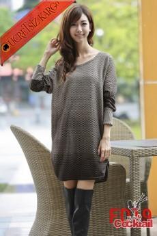 * Alacalı Fitil Japon Mevsimlik Elbise Gri