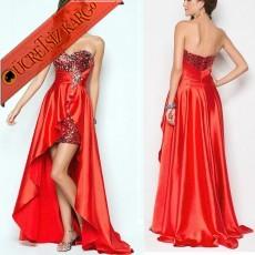 * Arkası Uzun Saten Düğün Abiye Elbisesi Kırmızı