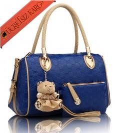 * Ayıcık Aksesuar Bayan Silindir Çanta Mavi