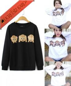 * 3 Maymun Japon Kışlık Sweatshirt Siyah S-Xl