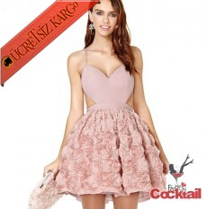 * Japon Kabartma Etek Dekolte Gece Elbise Xs-L