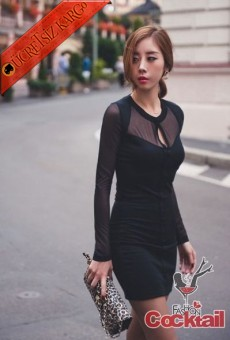 * PENCERE ÖN japon tül kol gece elbise siyah - İNDİRİM ÖZEL