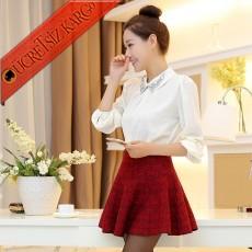 * Büyük Kare Japon Çan Pileli Mini Etek Kırmızı
