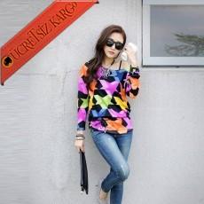 * 3 Boyutlu Yıldız Japon Mevsimli Bluz Tunik