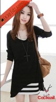 * 2İn1 Japon Asimetrik Genç Çizgili Elbise