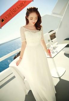 * Dantel Japon Parıltılı Uzun Elbise Beyaz S-Xl