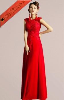 * İncili & Dantelli Japon Uzun Abiye S-Xxl Kırmızı
