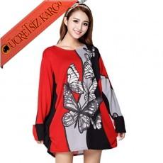 * Kelebekler Vadisi Japon 2Renk Elbise Kırmızı